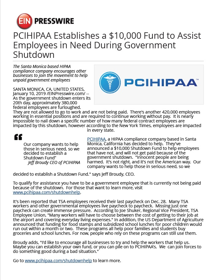 PCI HIPAA Press Release on Gov't shutdown Pg1